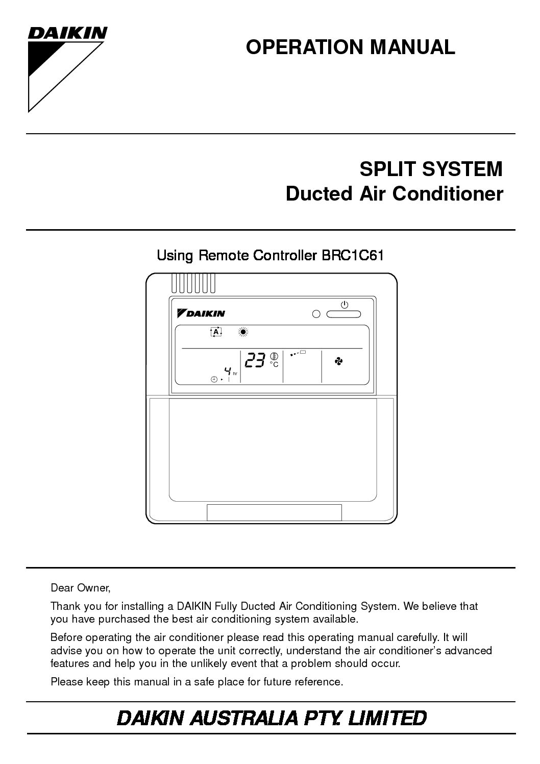 fujitsu ducted air conditioner instruction manual