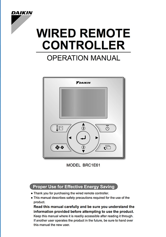 DAIKIN WIRED REMOTE CONTROLLER