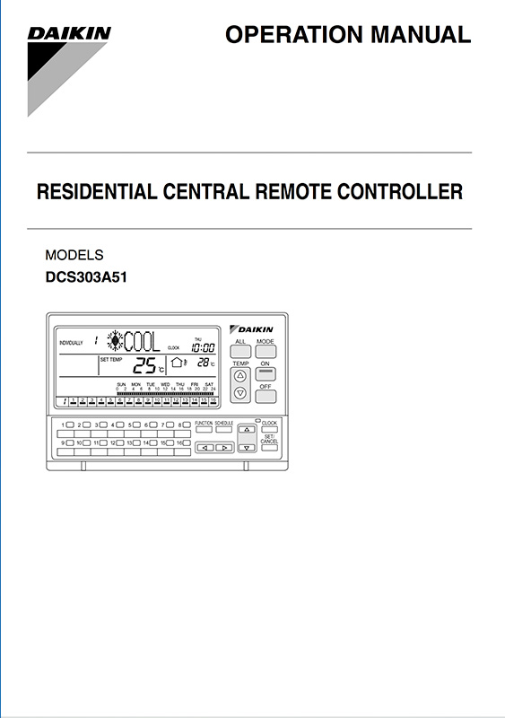 DAIKIN RESIDENTIAL CENTRAL REMOTE CONTROOLER MANUAL