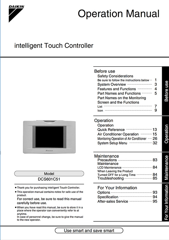 OPERATION MANUAL INTELLIGENT TOUCH CONTROLLER